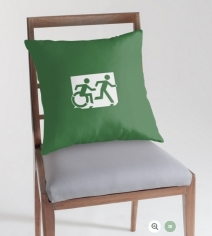 Accessible Means of Egress Icon Exit Sign Wheelchair Wheelie Running Man Symbol by Lee Wilson PWD Disability Emergency Evacuation Throw Pillow Cushion 102