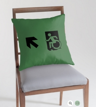 Accessible Means of Egress Icon Exit Sign Wheelchair Wheelie Running Man Symbol by Lee Wilson PWD Disability Emergency Evacuation Throw Pillow Cushion 103