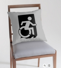 Accessible Means of Egress Icon Exit Sign Wheelchair Wheelie Running Man Symbol by Lee Wilson PWD Disability Emergency Evacuation Throw Pillow Cushion 104