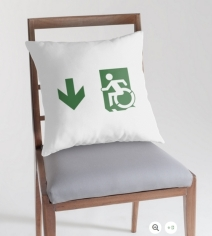 Accessible Means of Egress Icon Exit Sign Wheelchair Wheelie Running Man Symbol by Lee Wilson PWD Disability Emergency Evacuation Throw Pillow Cushion 105