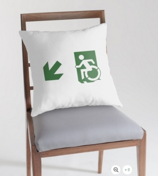 Accessible Means of Egress Icon Exit Sign Wheelchair Wheelie Running Man Symbol by Lee Wilson PWD Disability Emergency Evacuation Throw Pillow Cushion 106