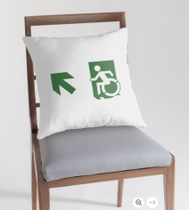 Accessible Means of Egress Icon Exit Sign Wheelchair Wheelie Running Man Symbol by Lee Wilson PWD Disability Emergency Evacuation Throw Pillow Cushion 107