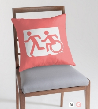 Accessible Means of Egress Icon Exit Sign Wheelchair Wheelie Running Man Symbol by Lee Wilson PWD Disability Emergency Evacuation Throw Pillow Cushion 108