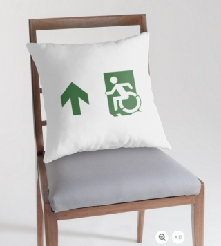 Accessible Means of Egress Icon Exit Sign Wheelchair Wheelie Running Man Symbol by Lee Wilson PWD Disability Emergency Evacuation Throw Pillow Cushion 109