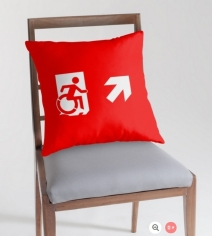 Accessible Means of Egress Icon Exit Sign Wheelchair Wheelie Running Man Symbol by Lee Wilson PWD Disability Emergency Evacuation Throw Pillow Cushion 11