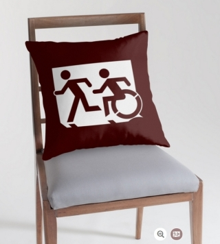 Accessible Means of Egress Icon Exit Sign Wheelchair Wheelie Running Man Symbol by Lee Wilson PWD Disability Emergency Evacuation Throw Pillow Cushion 110