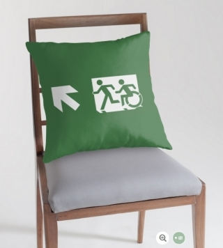 Accessible Means of Egress Icon Exit Sign Wheelchair Wheelie Running Man Symbol by Lee Wilson PWD Disability Emergency Evacuation Throw Pillow Cushion 111