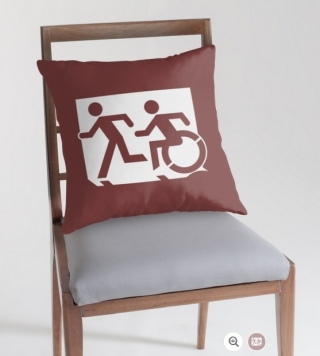 Accessible Means of Egress Icon Exit Sign Wheelchair Wheelie Running Man Symbol by Lee Wilson PWD Disability Emergency Evacuation Throw Pillow Cushion 112