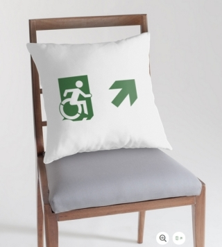 Accessible Means of Egress Icon Exit Sign Wheelchair Wheelie Running Man Symbol by Lee Wilson PWD Disability Emergency Evacuation Throw Pillow Cushion 113