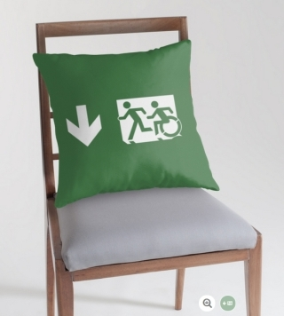 Accessible Means of Egress Icon Exit Sign Wheelchair Wheelie Running Man Symbol by Lee Wilson PWD Disability Emergency Evacuation Throw Pillow Cushion 114