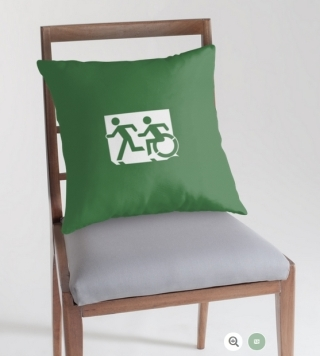 Accessible Means of Egress Icon Exit Sign Wheelchair Wheelie Running Man Symbol by Lee Wilson PWD Disability Emergency Evacuation Throw Pillow Cushion 115