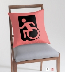 Accessible Means of Egress Icon Exit Sign Wheelchair Wheelie Running Man Symbol by Lee Wilson PWD Disability Emergency Evacuation Throw Pillow Cushion 116