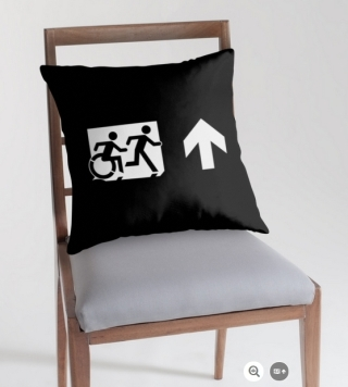 Accessible Means of Egress Icon Exit Sign Wheelchair Wheelie Running Man Symbol by Lee Wilson PWD Disability Emergency Evacuation Throw Pillow Cushion 117