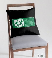 Accessible Means of Egress Icon Exit Sign Wheelchair Wheelie Running Man Symbol by Lee Wilson PWD Disability Emergency Evacuation Throw Pillow Cushion 118