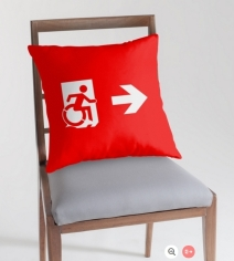 Accessible Means of Egress Icon Exit Sign Wheelchair Wheelie Running Man Symbol by Lee Wilson PWD Disability Emergency Evacuation Throw Pillow Cushion 12