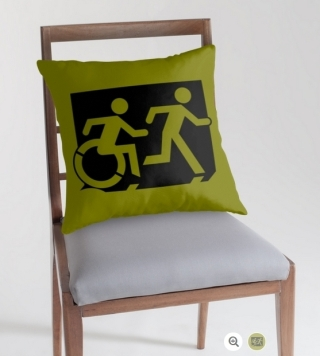 Accessible Means of Egress Icon Exit Sign Wheelchair Wheelie Running Man Symbol by Lee Wilson PWD Disability Emergency Evacuation Throw Pillow Cushion 120
