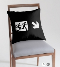 Accessible Means of Egress Icon Exit Sign Wheelchair Wheelie Running Man Symbol by Lee Wilson PWD Disability Emergency Evacuation Throw Pillow Cushion 121