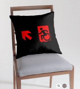 Accessible Means of Egress Icon Exit Sign Wheelchair Wheelie Running Man Symbol by Lee Wilson PWD Disability Emergency Evacuation Throw Pillow Cushion 122