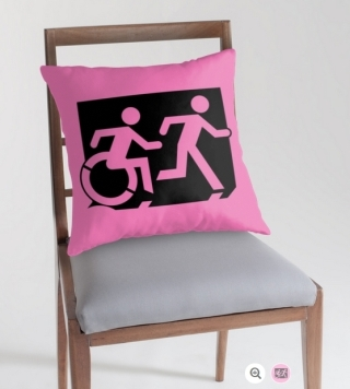 Accessible Means of Egress Icon Exit Sign Wheelchair Wheelie Running Man Symbol by Lee Wilson PWD Disability Emergency Evacuation Throw Pillow Cushion 124