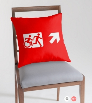 Accessible Means of Egress Icon Exit Sign Wheelchair Wheelie Running Man Symbol by Lee Wilson PWD Disability Emergency Evacuation Throw Pillow Cushion 125