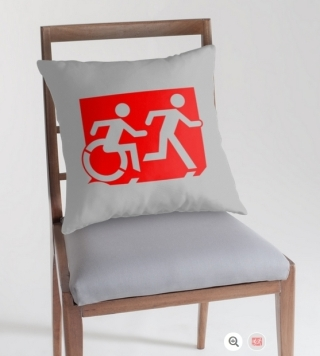 Accessible Means of Egress Icon Exit Sign Wheelchair Wheelie Running Man Symbol by Lee Wilson PWD Disability Emergency Evacuation Throw Pillow Cushion 126