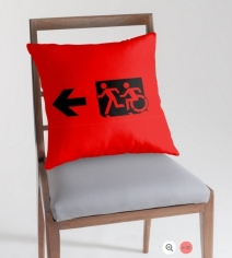 Accessible Means of Egress Icon Exit Sign Wheelchair Wheelie Running Man Symbol by Lee Wilson PWD Disability Emergency Evacuation Throw Pillow Cushion 127
