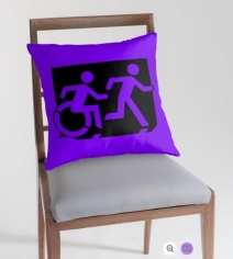 Accessible Means of Egress Icon Exit Sign Wheelchair Wheelie Running Man Symbol by Lee Wilson PWD Disability Emergency Evacuation Throw Pillow Cushion 129