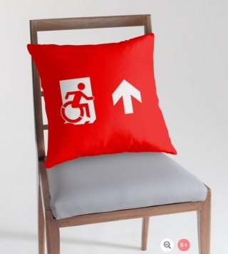Accessible Means of Egress Icon Exit Sign Wheelchair Wheelie Running Man Symbol by Lee Wilson PWD Disability Emergency Evacuation Throw Pillow Cushion 13