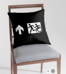 Accessible Means of Egress Icon Exit Sign Wheelchair Wheelie Running Man Symbol by Lee Wilson PWD Disability Emergency Evacuation Throw Pillow Cushion 130