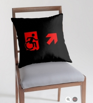 Accessible Means of Egress Icon Exit Sign Wheelchair Wheelie Running Man Symbol by Lee Wilson PWD Disability Emergency Evacuation Throw Pillow Cushion 131