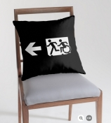 Accessible Means of Egress Icon Exit Sign Wheelchair Wheelie Running Man Symbol by Lee Wilson PWD Disability Emergency Evacuation Throw Pillow Cushion 132