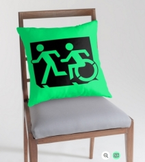 Accessible Means of Egress Icon Exit Sign Wheelchair Wheelie Running Man Symbol by Lee Wilson PWD Disability Emergency Evacuation Throw Pillow Cushion 133