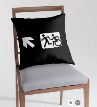 Accessible Means of Egress Icon Exit Sign Wheelchair Wheelie Running Man Symbol by Lee Wilson PWD Disability Emergency Evacuation Throw Pillow Cushion 134