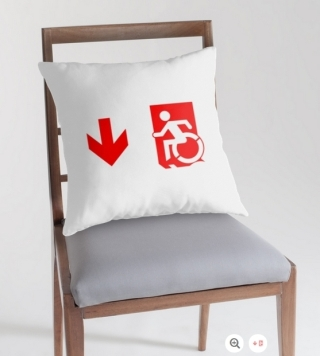Accessible Means of Egress Icon Exit Sign Wheelchair Wheelie Running Man Symbol by Lee Wilson PWD Disability Emergency Evacuation Throw Pillow Cushion 135