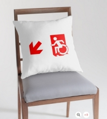 Accessible Means of Egress Icon Exit Sign Wheelchair Wheelie Running Man Symbol by Lee Wilson PWD Disability Emergency Evacuation Throw Pillow Cushion 136