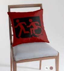 Accessible Means of Egress Icon Exit Sign Wheelchair Wheelie Running Man Symbol by Lee Wilson PWD Disability Emergency Evacuation Throw Pillow Cushion 137