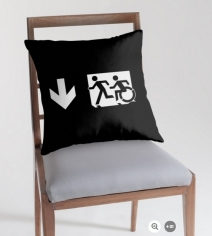 Accessible Means of Egress Icon Exit Sign Wheelchair Wheelie Running Man Symbol by Lee Wilson PWD Disability Emergency Evacuation Throw Pillow Cushion 139