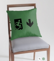 Accessible Means of Egress Icon Exit Sign Wheelchair Wheelie Running Man Symbol by Lee Wilson PWD Disability Emergency Evacuation Throw Pillow Cushion 140