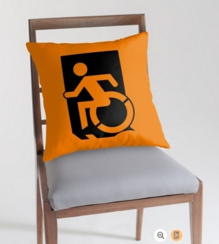 Accessible Means of Egress Icon Exit Sign Wheelchair Wheelie Running Man Symbol by Lee Wilson PWD Disability Emergency Evacuation Throw Pillow Cushion 141