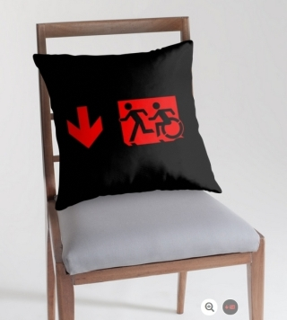 Accessible Means of Egress Icon Exit Sign Wheelchair Wheelie Running Man Symbol by Lee Wilson PWD Disability Emergency Evacuation Throw Pillow Cushion 14