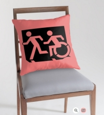 Accessible Means of Egress Icon Exit Sign Wheelchair Wheelie Running Man Symbol by Lee Wilson PWD Disability Emergency Evacuation Throw Pillow Cushion 142