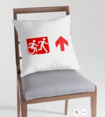 Accessible Means of Egress Icon Exit Sign Wheelchair Wheelie Running Man Symbol by Lee Wilson PWD Disability Emergency Evacuation Throw Pillow Cushion 143