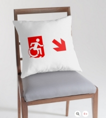 Accessible Means of Egress Icon Exit Sign Wheelchair Wheelie Running Man Symbol by Lee Wilson PWD Disability Emergency Evacuation Throw Pillow Cushion 144