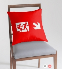 Accessible Means of Egress Icon Exit Sign Wheelchair Wheelie Running Man Symbol by Lee Wilson PWD Disability Emergency Evacuation Throw Pillow Cushion 146