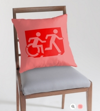 Accessible Means of Egress Icon Exit Sign Wheelchair Wheelie Running Man Symbol by Lee Wilson PWD Disability Emergency Evacuation Throw Pillow Cushion 147