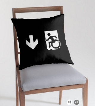 Accessible Means of Egress Icon Exit Sign Wheelchair Wheelie Running Man Symbol by Lee Wilson PWD Disability Emergency Evacuation Throw Pillow Cushion 148