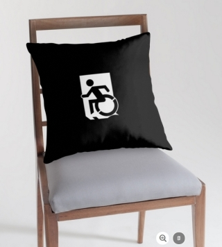 Accessible Means of Egress Icon Exit Sign Wheelchair Wheelie Running Man Symbol by Lee Wilson PWD Disability Emergency Evacuation Throw Pillow Cushion 149