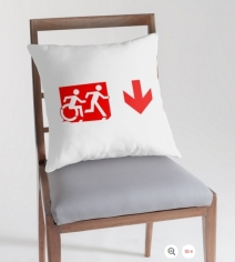 Accessible Means of Egress Icon Exit Sign Wheelchair Wheelie Running Man Symbol by Lee Wilson PWD Disability Emergency Evacuation Throw Pillow Cushion 150