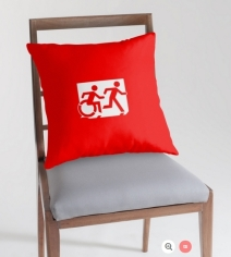 Accessible Means of Egress Icon Exit Sign Wheelchair Wheelie Running Man Symbol by Lee Wilson PWD Disability Emergency Evacuation Throw Pillow Cushion 15