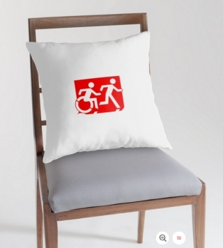 Accessible Means of Egress Icon Exit Sign Wheelchair Wheelie Running Man Symbol by Lee Wilson PWD Disability Emergency Evacuation Throw Pillow Cushion 151